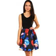 34a59de69289 TopMode krátké dámské šaty květovanou sukní modrá
