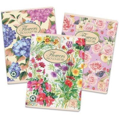Pigna Školní sešit Nature Flowers A5 čistý mix motivů