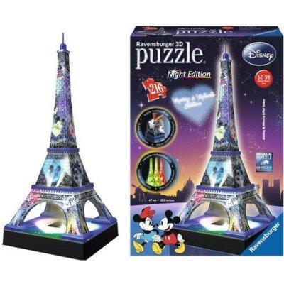 RAVENSBURGER Svítící 3D puzzle Noční edice Eiffelova věž Disney 216 dílků