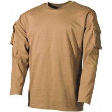 MFH US Coyote dlhé tričko s velcro kapsami na rukávech 170g/m2