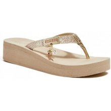 Guess Mansi Wedge Flip Flops gold multi texture