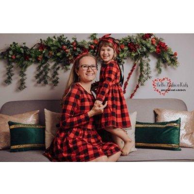 Vánoční šaty máma a dcera karo -máma BE43