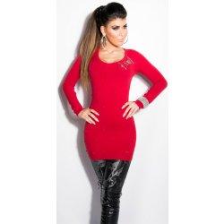 Koucla dámský dlouhý svetr s korálky červená od 450 Kč - Heureka.cz 6bf5084395