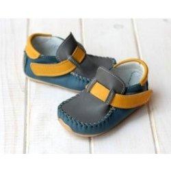 Barefoot dětské boty ZEAZOO mokasíny ŠEDO-MODRO-ŽLUTÉ od 999 Kč ... 5630a3ef5e