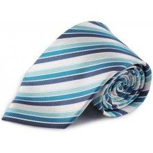 Proužkovaná hedvábná kravata modrá tyrkysová bílá 0c23ba4892