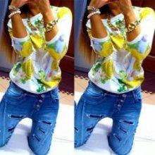 e6c0ffa985c2 Dámská mikina top pulover Kopretiny žluté květy žlutá