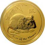 Lunární Zlatá investiční mince Year of the Mouse Rok Myši 1 Oz 2008