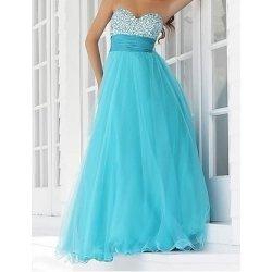 Modré dlouhé luxusní společenské svatební plesové šaty do tanečních s perličkovým  korzetem 7da54be518