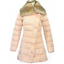 Emporio Armani péřový s kožešinovým límcem Dámský kabát béžový