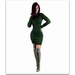 e6e0e7116044 Svetrové šaty mini s rolákem 3431-4 zelená