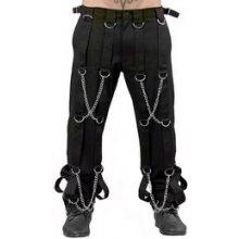 Metalové kalhoty pánské s popruhy a řetízky