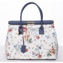 0688b00994 dámská luxusní kožená kufříková kabelka Monika květiny modrá