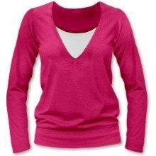 Karla kojící tričko dlouhý rukáv sytě růžová