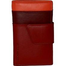 Dámská kožená peněženka vícebarevná tmavě červená