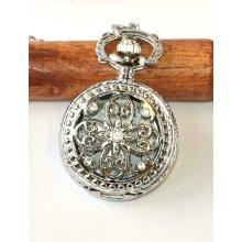 0cd8b3cd8 MR Kapesní na řetízku, menší Vintage Stříbrná Květina, mandala 2248