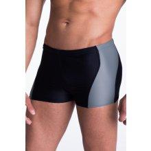 Primo Pánské plavky boxerky Mike šedým pruhem černá