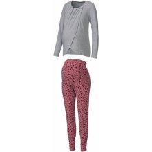 Esmara Lingerie těhotenské pyžamo BIO šedá/starorůžová