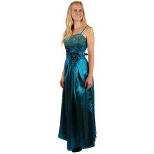 Dlouhé lesklé večerní šaty se zlatou výšivkou 150193 modrá 2230429c8d