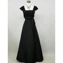 273cb8b03fe3 dlouhé společenské plesové šaty pro plnoštíhlé s rukávem Černé ...