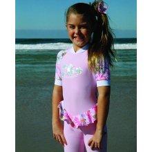 Dívčí kombinéza s barevnými volánky a UV ochranou
