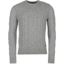 Firetrap Cable Knit Jumper Mens Grey Marl
