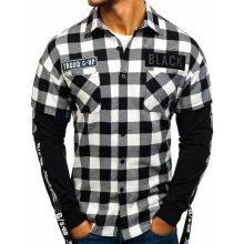 Černá pánská flanelová košile s dlouhým rukávem Bolf 7459 5b6fe18dc7