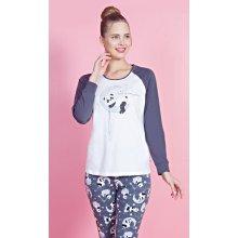 e76e7f07e150 Vienetta Secret Panda na měsíci dámské pyžamo dlouhé šedá bílá