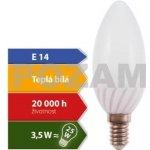 Pozam LED žárovka Svíčka E14 3,5W 280lm; Teplá bílá 3000K , 270° Kapka