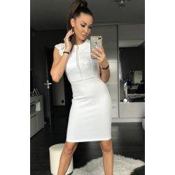1f9938fc1bb Emamoda dámské společenské šaty upnuté s krajkou bílá alternativy ...