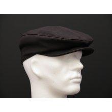 Špongr Pánská kožená čepice s kšiltem bekovka BE07 černohnědá broušená  teletina 423a1861d0