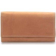 Delami Peněženky Dámská kožená peněženka světle hnědá Guara Hnědá