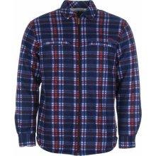Lee Cooper Lined Full Zip Mens Polar Fleece Shirt Navy/White/Red