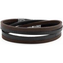Lucleon Hnědý a ocelový Roy Double Wrap náramek MP_bracelet227