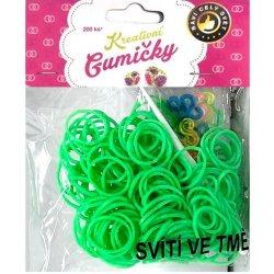 Loom Bands pletací gumičky svítící ve tmě sv. zelené 200ks + háč