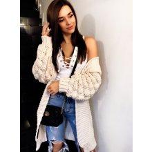 53164209c63 Fashionweek Dámský luxusní pletený svetr se super rukávy BUBBLE Béžový