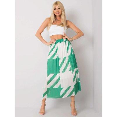 Skládaná sukně se vzory tmavě zelená