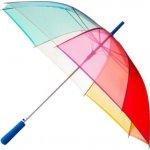 96e7bc778a4 průhledný duhový deštník CLEAR RAINBOW modrá rukojeť