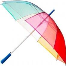 Dámský průhledný duhový deštník CLEAR RAINBOW modrá rukojeť