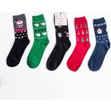 dámské ponožky s vánočními motivy - balíček 5 párů - 963