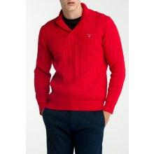 Gant Pánský svetr COTTON CABLE WRAP COLLAR červená S