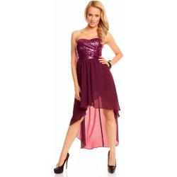 a70cea1f3 MAYAADI dámské společenské a plesové korzetové flitrové šaty s asymetrickou  sukní 297 fialová