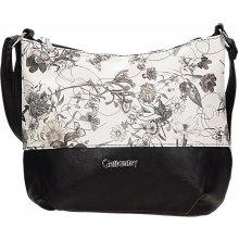 Gallantry kabelka s motivem květů černo-bílá
