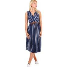9f2390e236006 TopMode pruhované dámské šaty zavinovací efekt tmavě modrá