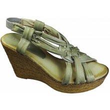 Deska Dámské sandály na klínku 25548 BEI/GRE