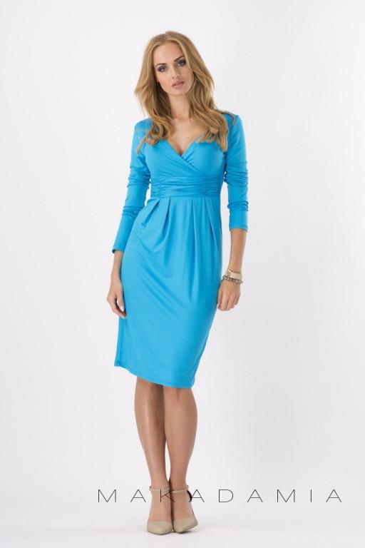 ed0a55dda6f4 Makadamia midi šaty s řasením v pase dlouhý rukáv nebeská modrá od 506 Kč -  Heureka.cz