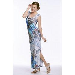 ea636c2cc5d7 Dlouhé letní dámské šaty s rozparkem bez rukávů 7006