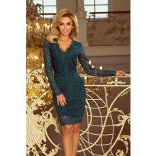 297d552f2c8d Numoco dámské šaty krajkové s dlouhým rukávem 170-3 zelená