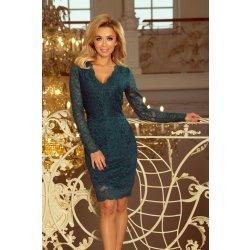 7f0d60a99e1f Numoco dámské šaty krajkové s dlouhým rukávem 170-3 zelená