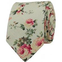 96a05637357 Béžová květovaná pánská bavlněná kravata