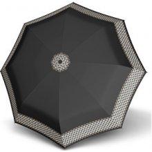 Doppler Dámský skládací plně automatický deštník Fiber Magic Aurora černý se srdíčky 7441465AR-1
